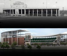 Baylor's Floyd Casey Stadium circa 1950, and a mock up of the soon to be completed home of Baylor football, McLane Stadium. Only 58 days until the grand opening! Images via baylor-stadium.com. #Baylor #SicEm #NCAA #Big12 #Football
