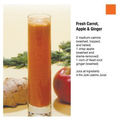 Fresh Carrot, Apple and Ginger. ☀CQ #glutenfree #organic #smoothies