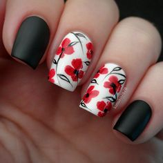 Instagram media by kimiko7878 - #remembrancedaynails Lest We Forget. Polishes used are Revlon's 'Spirit' and 'Black Magic' with WnW's matte top coat on the the black. The design is hand painted with acrylic paint. #poppies