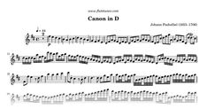 Sheet music for Canon in D (Pachelbel's Cannon) by Johann Pachelbel, arranged for Flute and Strings. Free printable PDF score and MIDI track.