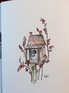 Birdhouse Watercolor Card / Hand Painted Watercolor Card This card is an original watercolor not a print. It would look lovely framed. This card is painted on heavy card stock. I have used watercolor and ink. The card is 5x7 and in portrait. Comes with a matching envelope in a #watercolorarts