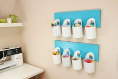 Hanging Storage Bins made from recycled containers #DIY