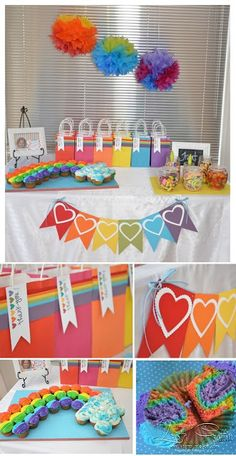 Stampin' Dolce: Rainbow Party Theme using Stampin' up! Rainbow Dash Party, Rainbow Parties, Rainbow Theme, Rainbow Heart, Rainbow First Birthday, First Birthday Parties, Rainbow Invitations, Heart Party, Tropical Party