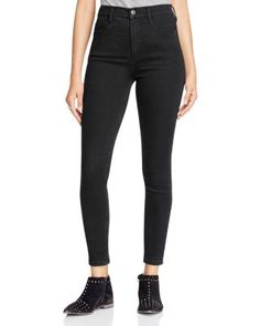 Free People Cyndi High-Rise Skinny Jeans in Black   Cotton/rayon/polyester/spandex   Machine wash or dry clean   Imported   Fits true to size, order your normal size   Zip fly with button closure, fiv