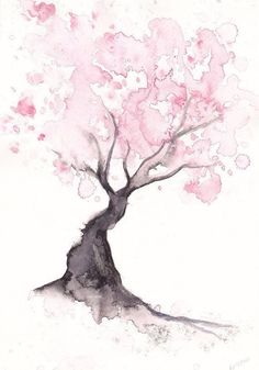 Japanese Cherry Blossom Tree - Watercolours