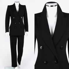 VTG YVES SAINT LAURENT YSL 3PC LE SMOKING MENSWEAR BLAZER PANTS SKIRT SUIT SZ 38 #YvesSaintLaurent #PantSuit