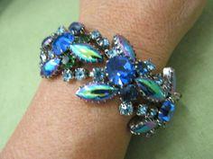 Vintage blue, green Aurora Borealis Hematite wide rhinestone statement bracelet #Unbranded #Statement