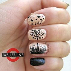 #Nails Nail Art www.finditforweddings.com   peach and black