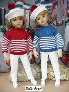 Tuto chandail marin, tricot, poupée Maru, Gotz