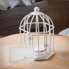 Birdcage Tealight Place Card Holder White