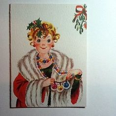 Vintage Unused Fravessi Christmas Card Lady Dressed in Holiday Best.