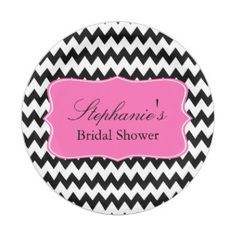 Black and White Zigzag with Hot Pink Bridal Shower 7 Inch Paper Plate