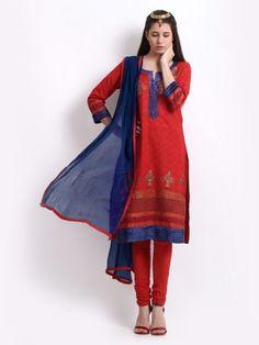 Buy BIBA Women Red & Blue Printed Salwar Suit - 62812-163801 - Apparel for Women