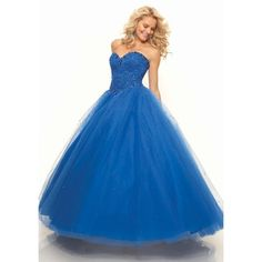 Sweetheart Floor Length Tulle Ball Gown Blue Prom Dress Opa0026 ($221) ❤ liked on Polyvore featuring dresses, gowns, alizeebridal, prom dresses, tulle gown, tulle ball gown, blue dress and floor length evening gowns