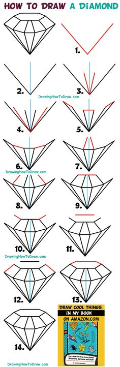 How to Draw a Diamond Easy Step by Step Drawing Tutorial for Kids & Beginners diamond drawing - Drawing Tips Drawing Lessons, Drawing Techniques, Drawing Tips, Drawing Ideas, Drawing Drawing, Drawing Poses, Easy Drawings For Kids, Drawing For Kids, Cool Drawings