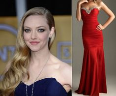 Side-swept Waves + Mermaid Dress. Take a note out of Amanda Seyfried's playbook and pair a body conscious mermaid dress with the side-swept waves hairstyle that dominated the red carpet during awards