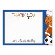 Sports Baseball Football Birthday Thank You Card Invites