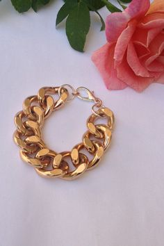 Extra Chunky Rosegold Chain Bracelet by BlackPearlCouture on Etsy