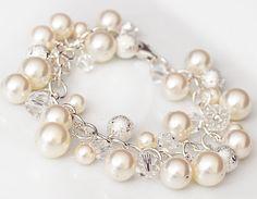 Pearl Cluster Bracelet, Pearl Wedding Bracelet. Crystal Bridal Bracelet. Ivory Pearl Jewelry. Sterling Silver Bracelet. Wedding Jewellery. $110.00, via Etsy.