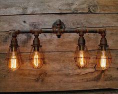Rustic Pipe Bathroom Vanity - Iron Industrial light - Pipe Vanity Light - Steel Steam Punk