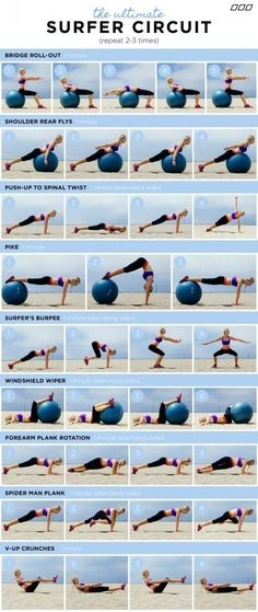 """The 3 Week Diet Weightloss - """"HOW TO GET A SURFER'S BODY!"""" You do not need to surf to get the results from this fun workout circuit. Created by Celebrity Trainer – Monica Nelson.monicanelsonf… The 3 Week Diet Weightloss - Fitness Workouts, Fun Workouts, Yoga Fitness, Fitness Tips, Fitness Motivation, Health Fitness, Ball Workouts, Health Club, Shape Fitness"""