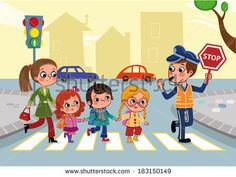 Cartoon drawing of kids and adults crossing the street - Royalty-free Çocuk Vector Art Road Safety Poster, Safety Posters, Cartoon Drawings Of Animals, Cartoon Pics, Painting For Kids, Drawing For Kids, 2nd Birthday Party For Boys, Speech Therapy Games, Preschool Education