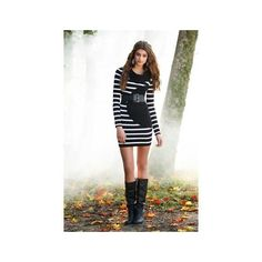 STRIPED SWEATER DRESS | Body Central ($20) via Polyvore