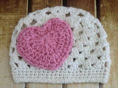 Crochet Pattern Heart Applique Beanie Hat Baby to Adult