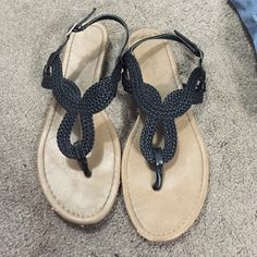 Black sandals!! Black braided looking sandals. Super cute and only worn a couple of times! There are a couple of small scuffs (shown in picture) but noticeable when wearing. Shoes Sandals