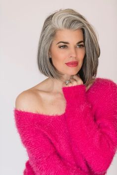 HAIR, Mature - the silver/grey hair color contrasts beautifully with fuschia / via freshbeautystudio.com