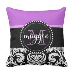 Purple Black Damask Girly Monogram Throw Pillow