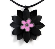 Recycled Bike Inner Tube Daisy Flower Necklace by PartsAndScraps, $14.95