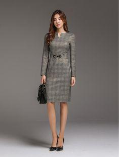 Korean Women`s Fashion Shopping Mall, Styleonme. Gold Belts, Check Printing, Pay By Credit Card, Korean Model, Girl Model, Korean Fashion, Peplum Dress, Knitwear, Style Me