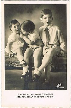 Children of Alexander I and Marie of Yugoslavia from left to right: Prince Andrej, Prince Tomislav and Prince Peter
