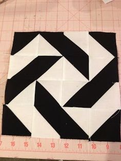 Modern Half-Square Triangle Quilt-a-Long Block 10  I want to make this a throw rug for my kitchen