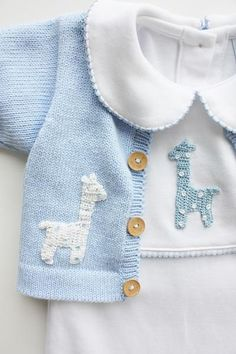 Let him cuddle up in this darling giraffe crochet playsuit! Made from Peruvian Pima Cotton and adorned with a beautiful hand-crocheted blue giraffe. *All N # classic childrens clothes Boy Giraffe Crochet Playsuit