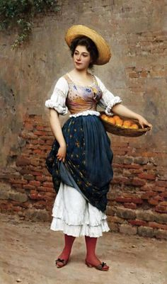 Eugenio De Blaas Young Woman with Basket of Oranges and Lemons, 1902 oil on panel, 100.3 x 59 cm