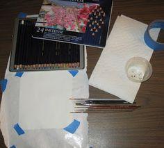 little tutorial on using Derwent Inktense Pencils.http://fiberonawhim.blogspot.co.uk/2012/02/inktense-pencil-tutorial-sale-of-week.html