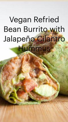 Vegan Dinner Recipes, Veg Recipes, Curry Recipes, Mexican Food Recipes, Real Food Recipes, Healthy Recipes, Refried Bean Burrito, Vegan Refried Beans, Meal Ideas