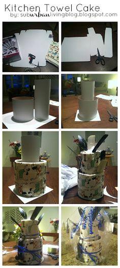 Pinterest Win: Kitchen Towel Cake by thegoldlifeblog.blogspot.com