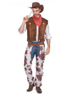 Disfraz de vaquero para hombre: Disfraz de vaquero para hombre compuesto por un chaleco de imitación de cuero con dos insignias y unos cubrepantalones de imitación de piel de vaca, un sombrero y un pañuelo...