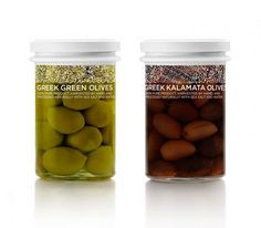 beautiful package and use of negative space - Food Wealth - #packaging #typeography #olives