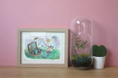 Tableau aquarelle chat. déco chambre enfant. cadeau illustration encadrée. dessin coloré mignon. rêve. bonheur. cupcake. thé. bulles.