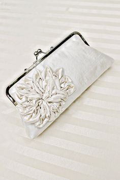 Bridal Ivory Silk Clutch with Ruffle Flower by SimplyClutch on Etsy, #weddings #dteam