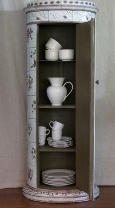 Charming Antique European Trompe l'oeil Cabinet image 2   (Faux Kakelugn)