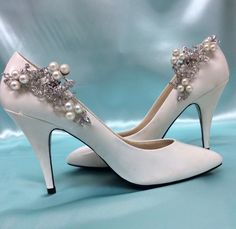 fa272b37e4b Beautiful pearl rhinestone shoe clips are the perfect accessory to any  formal outfit. Listing is