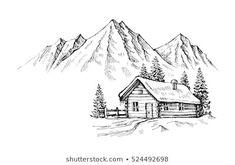 Mountain Landscape Drawing, Landscape Drawing Easy, Landscape Pencil Drawings, Landscape Sketch, Winter Landscape, Pastel Landscape, Beach Landscape, Easy Pencil Drawings, Cool Art Drawings