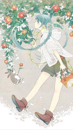 Miku Hatsune x Earth Music and Ecology Japan Label ~ Drop Dead Cute - Kawaii for Sexy Ladies Anime Chibi, Anime Kawaii, Hatsune Miku, Anime Art Girl, Manga Girl, Anime Girls, Anime Flower, Desu Desu, Image Manga