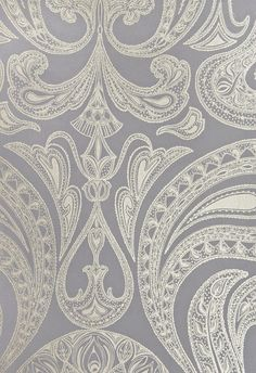 Malabar Wallpaper Dark Lilac Grey wallpaper with large metallic silver Paisley design in white.-- half bath in wallpaper Paisley Wallpaper, Room Wallpaper, Metallic Wallpaper, Wallpaper Samples, Wallpaper Ideas, Feature Wallpaper, Wallpaper Designs, Lilac Grey, 3d Home