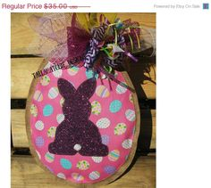 40% Off Easter Sale.....Easter Egg Burlap Door Hanger Easter Egg by TallahatchieDesigns